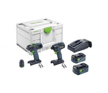 TID/T 18V 2 Piece Impact Driver and 2 Speed Drill Driver 5.2Ah Set in Systainer